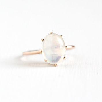 Antique 10k Rose Gold Jelly Opal Ring - Size 5.5 Vintage Edwardian Oval Colorful Gem Stick Pin Conversion Fine Statement Solitaire Jewelry