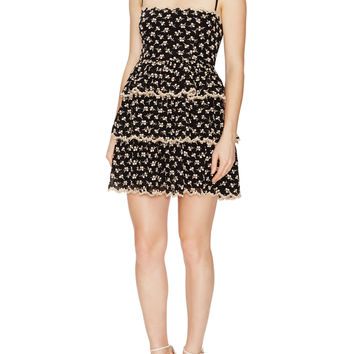 RED Valentino Women's Silk Embroidered Mini Dress - Black -