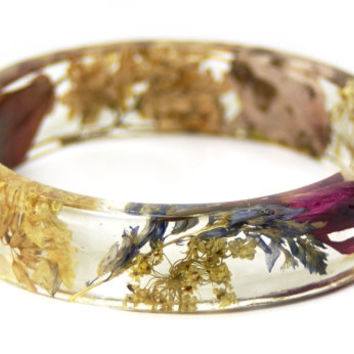 Jewelry with Real Flowers- Dried Flowers- Tan Bracelet- Dried Flowers- Red Bracelet -Flower Resin Jewelry