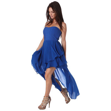 Electric blue bandeau maxi dress with high low hem and ruffle detail