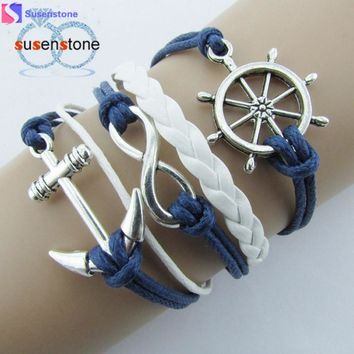 SUSENSTONE Silver Infinite Nautical Rudder Anchor Blue Leather Rope Bangle bracelets