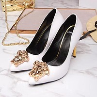 Versace Summer Popular Sexy Women Stylish Pure Color Leather Stiletto Heel Pointed High Heels Black I13174-1