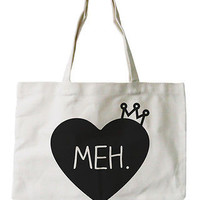 "Women's Natural Canvas Tote Bag- Cute ""Meh."" Princess Crown- 18x14inches"