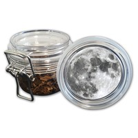 Airtight Stash Jar with Silicone Seal - Full Moon - Food-Grade Plastic with Locking Wire Top - Smell Proof Hermes Container