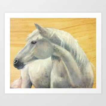 Grey horse on wood Art Print by DJ Beaulieu