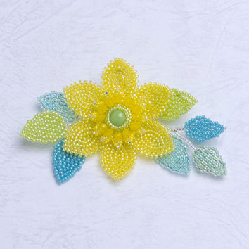 Beaded Yellow Clematis Flower Brooch with Plaited Herringbone  Stitch, 369-1ch-yel