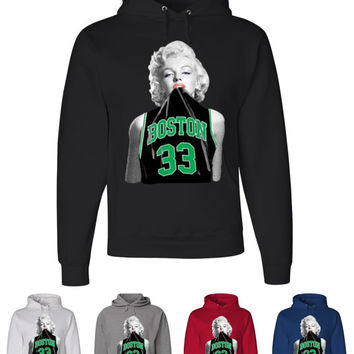 Marilyn Monroe Hoodie Boston Celtics Hoodie 33 Larry Bird Sweatshirt NBA Boston 05