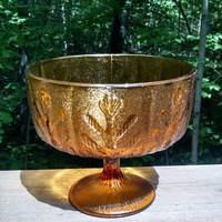 Vintage FTD Amber Glass Pedestal Bowl, Autumn Oak Leaves Planter or Vase