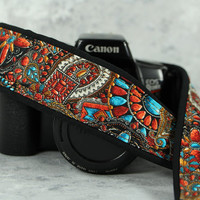 Faux Beaded Southwestern Camera Strap, Tribal, dSLR, SLR, Native American Inspired, 209