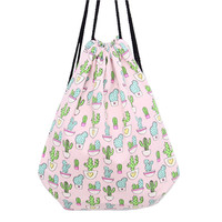 Cactus Print Canvas Drawstring Backpack
