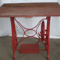 Primitive Table Red Barnwood Top Cast Iron Base