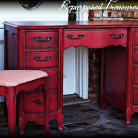 French country desk and chair,  red desk and chair,  distressed desk, rustic desk, desk, shabby chic desk,  chippy desk, painted desk