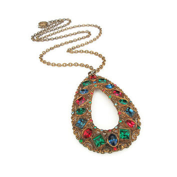 Art Deco Necklace, Rhinestone Pendant, Jewel Tone, Gilt Gold, Brass Metal, Red Green Blue, Art Deco Jewelry, Vintage Necklace