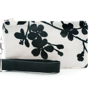 Asian flowers wristlet / black and white clutch / small purse / zipper pouch & detachable key fob gift set for women in modern fabric
