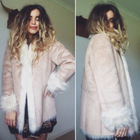 Vintage 90s Does 70s // PENNY LANE GYPSY Jacket // Vegan Suede Faux Fur Bohemian Coat // Hippie Festival Folk // Size M