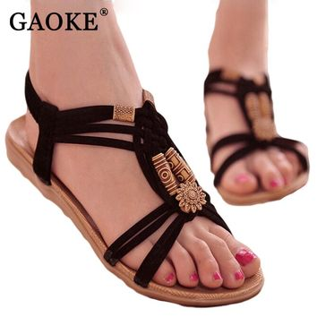 Summer Fashion Flip Flops Women's Beach Sandals String Bead Black Elastic Bands Flat Shoes Gladiator