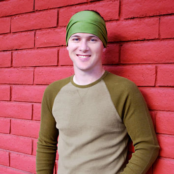Mens Headband, Grass Green Headband, Sports Headband, Running Headband (Item 1004) Medium