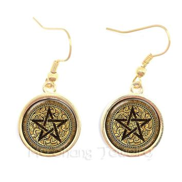 2018 Supernatural Pentagram Glass Earrings Gothic Satanism Evil Occult Pentacle Jewelry Pagan Charm Gift For Friends