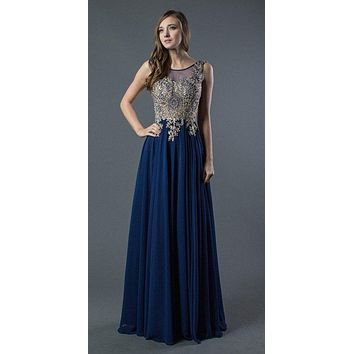 Navy Blue Long Prom Dress with Appliqued Bodice