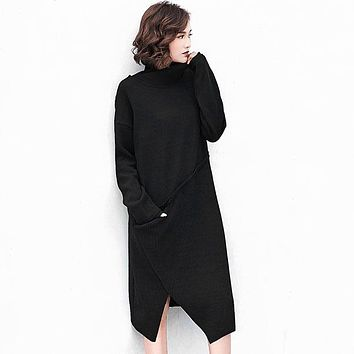 [GUTU] 2017 Solid Color Dress New Fashion Autumn Korean Turtleneck Black Long Sleeve Loose Big Size Casual Woman's Dress FA21201