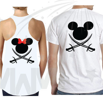 Matching Disney Couple Pirate T-Shirts, Tank Tops, Sweatshirts, Pullover Hoodies, Custom Names, Free Backpack, Free Shipping, MWM, 018