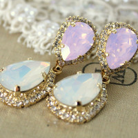 Crystal opal earring - 14k plated gold  earrings real swarovski opal and  Turquoise rhinestones .