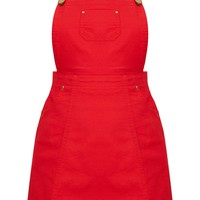 Red Denim Pinafore Dress