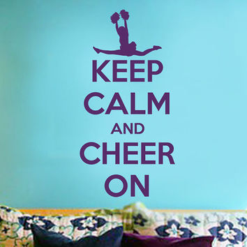 Keep Calm and Cheer On Wall Sticker | Wall Decal 11w x  23h