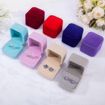 Engagement Square Velvet Ring Box Jewelry Packaging Storage Case for Wedding Ring Valentine's Day Gift Organizer Jewellery Box