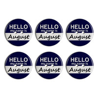 August Hello My Name Is Plastic Resin Button Set of 6