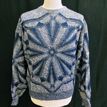 Vintage 1980s LONDON FOG Geometric Indie Mod Slim Fit Jumper Sweater Large