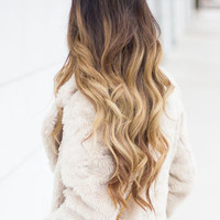 "22"" Full Head Clip in Dip dye Ombre Hair Extensions Synthetic Straight Curly Wavy 6pcs Set (Col. dark brown to sandy blonde)"