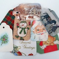 Unique Christmas Gift Tag set of 8 from Upcycled Cards