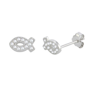Sterling Silver Christian Fish Stud Earrings Micropave CZ 7mm x 4mm