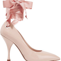 Miu Miu - Canvas-trimmed patent-leather pumps