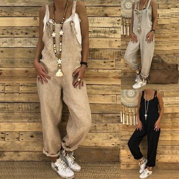 Women Jumpsuit Romper Linen Sleeveless Overall Casual Loose Trousers Pant Summer Casual Women Clothes Jumpsuits