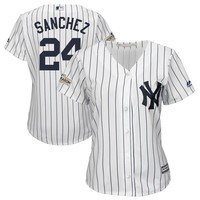 Women's New York Yankees Gary Sanchez Majestic White 2017 Postseason Cool Base Player Jersey
