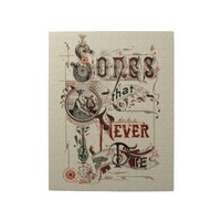 Vintage Antique Typography Music Songs Harp Puzzle