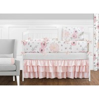 Sweet Jojo Designs Blush Pink, Grey and White Shabby Chic Watercolor Floral Collection Baby Girl 9piece Crib Bedding Set | Overstock.com Shopping - The Best Deals on Bedding Sets