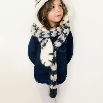 Cat Kitten Hat Hood Cowl Scarf Knit Toddler Child Adult // Tilly the Tabby Cat Hood