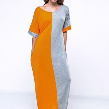 Casual Color Block Loose Fitting Round Neck Maxi Dress
