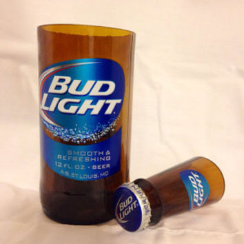 Bud Light Beer Bottle Shot Glass Chaser Set. Recycled Glass Bottle. Rum and Coke. Man Cave.