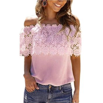 Summer Hot Lace Stitching Women Blouse Shirt Plus Size 5XL 6XL Tops Tee Hook Flower One Word Led Chemise Femme