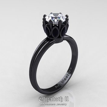 Elizabeth II - Classic 14K Black Gold Marquise Black Diamond 1.0 Ct Round White Diamond Solitaire Ring R90-14KBGBDD