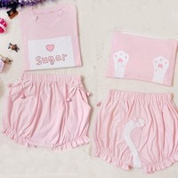 Harajuku Kawaiii Pink Cat Bells T-shirt Pumpkin Pants Set SD00852