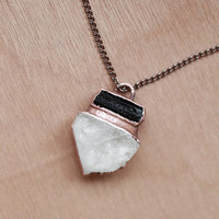 Raw Crystal Necklace Rough Crystal Necklace Black Tourmaline Necklace Rough Gemstone Necklace Raw Stone Pendant Crystal Quartz Necklace