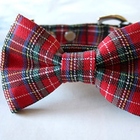 Red Tartan Plaid Bow Tie Dog Collar