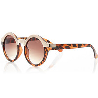 River Island Womens Brown tortoise metal brow round sunglasses