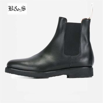 Black& Street Handmade West Kanye Black Chelsea Boots Vintage Raw Rubber England Genuine Leather Ankle Martin Boots