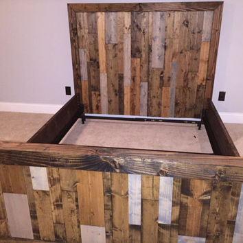 Rustic Weathered Wood Headboard Foot board and Bed frame